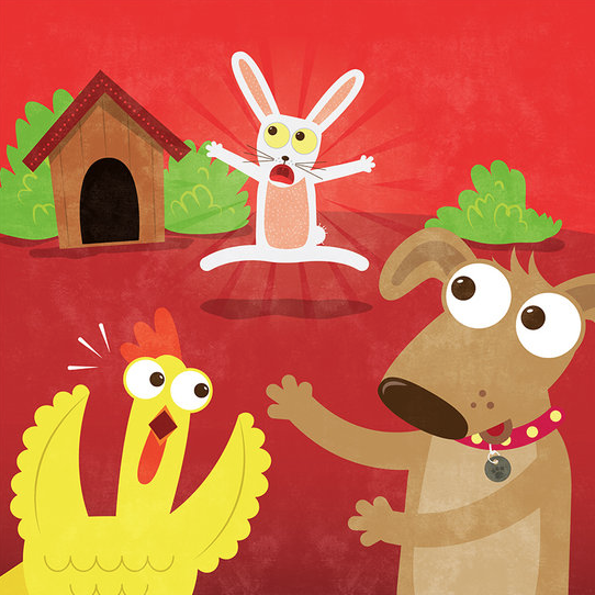 Rabbit, Dog and Chicken are running