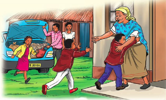 Children running to hug grandmother.
