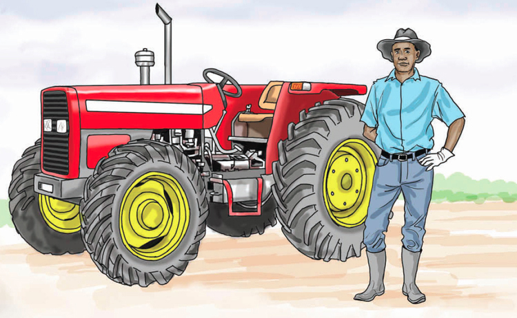Man standing next to a farm tractor